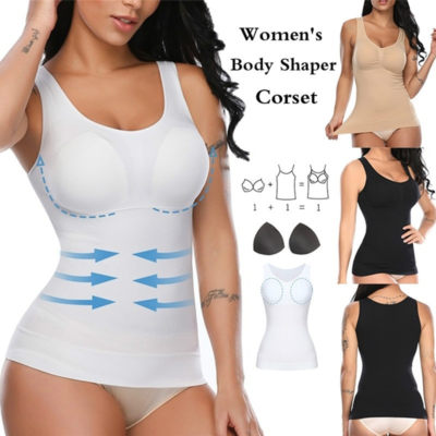 Women Shapewear Tops Cami with Built-in Bra Tummy Control Tank Top Smoothing Camisole Removable Pads Slimming Body Shaper