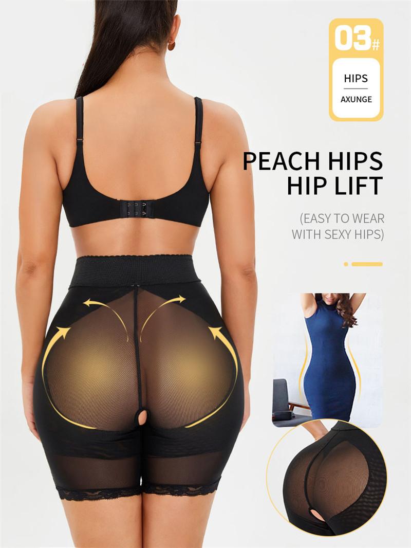 Tummy Control Panties Shapewear Women Body Shaper Panties Hi-Waist Butt Lifter Thigh Slimmer Zipper Hook Splicing Mesh