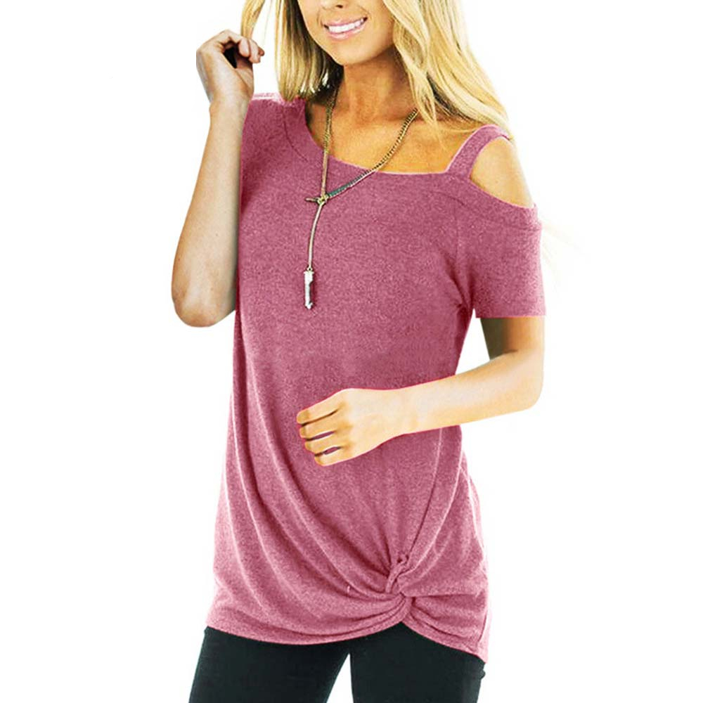 Sexy T Shirt Women Cold-shoulder Short Sleeve New Summer Tee Shirts Women Clothes Fashion Tie Long Tees Female