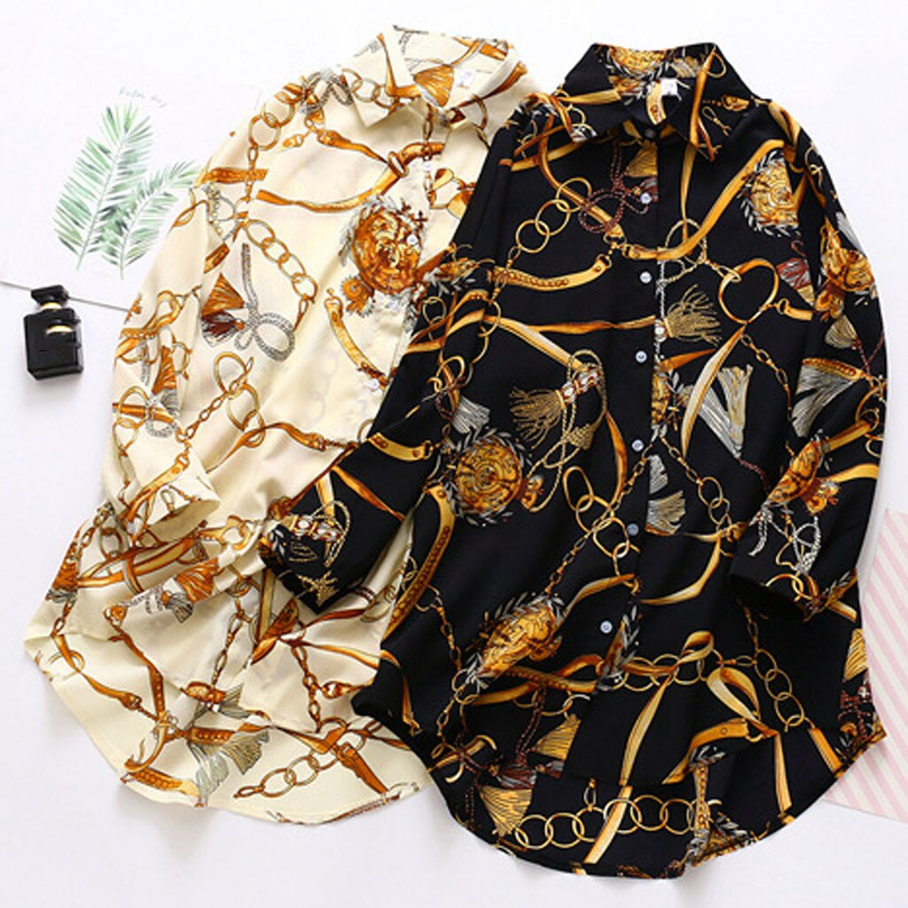 Fashion Chiffon Shirt Women Loose Long Sleeve Printed Turn-down Button Shirts Summer Blouse Working Office Chiffon Blouses