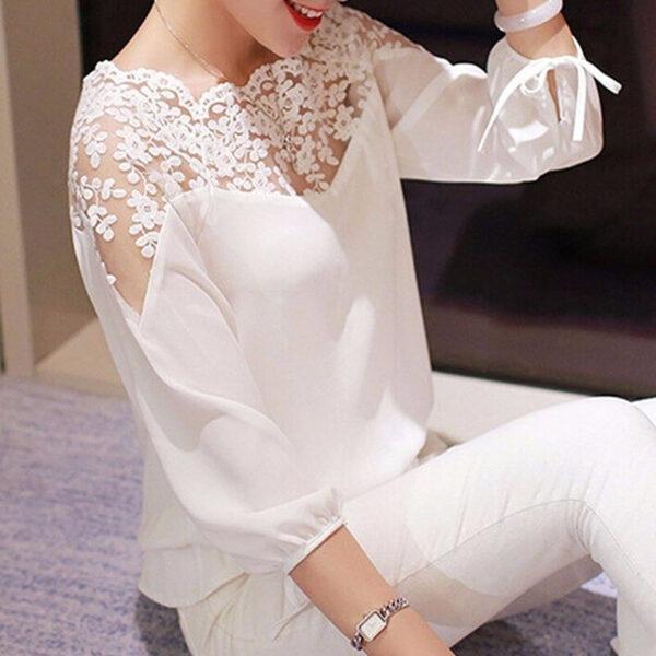Women Blouses Summer Long Sleeve White Cotton Slim Crochet Hollow Lace Women Tops Shirts Elegant