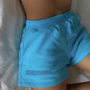 Women shorts elastic waist pocket cotton summer straight letter printed casual high street shorts femme shorts
