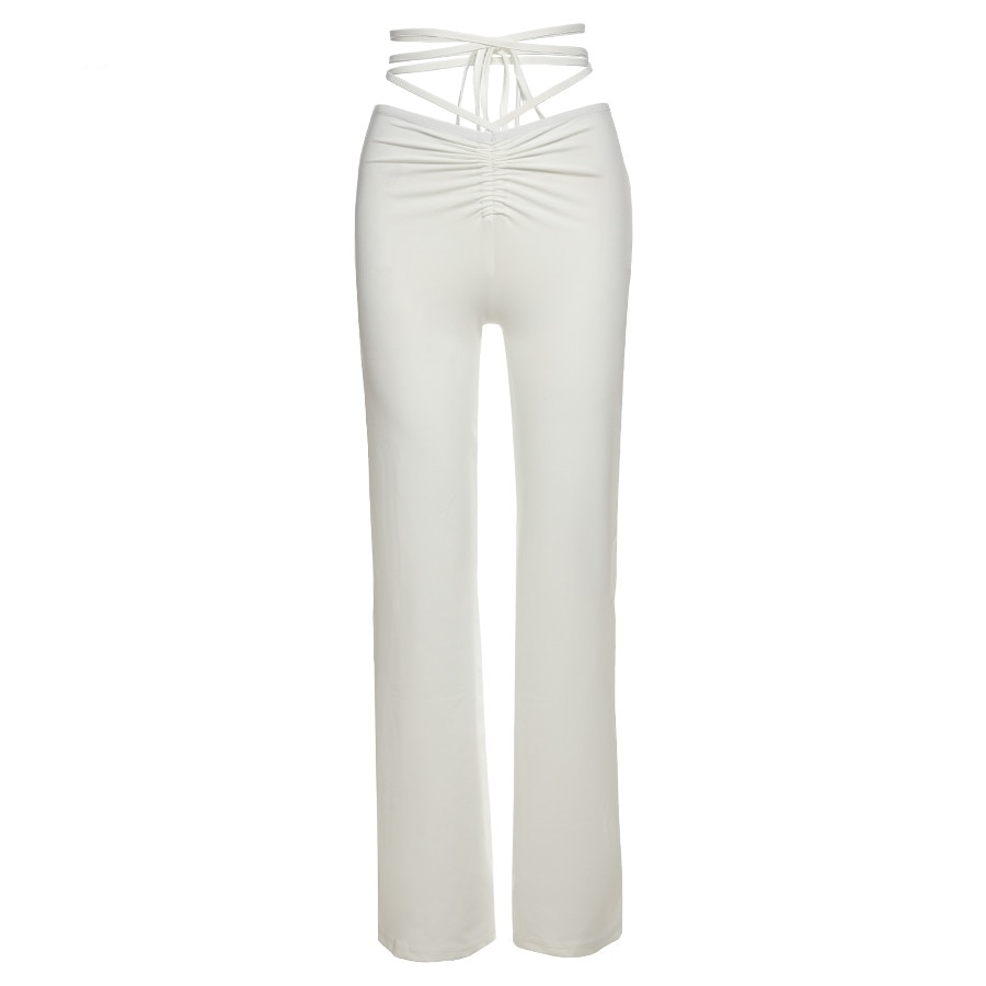 Solid High Waist Hollow Bandage Straight Pants Female High Quality ActivityTrousers Street Casual Women Pants