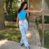 Awesome Printed Straight Pants Capris Women Baggy High Waist Casual Vintage Style Street Wear Female clothes