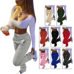 Street wear Women Wide Leg Flare Stacked Ruched Pants High Waist Leggings Trousers Sportswear Sexy Tracksuit Sweatpants