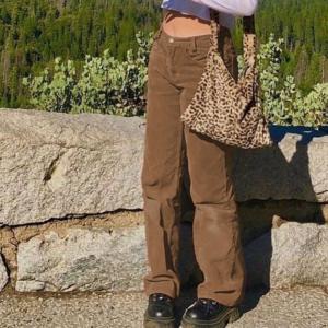 Corduroy Joggers Women Cargo Pants Street wear Caramel Brown Low Waist E Girl Aesthetic Straight Trousers Female