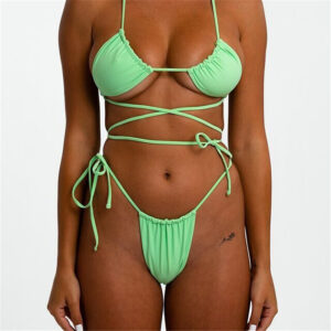 Women Summer Swimming beach strap suits Ladies Girls Sexy Solid Color Ring Bikini multi colors two Piece Set