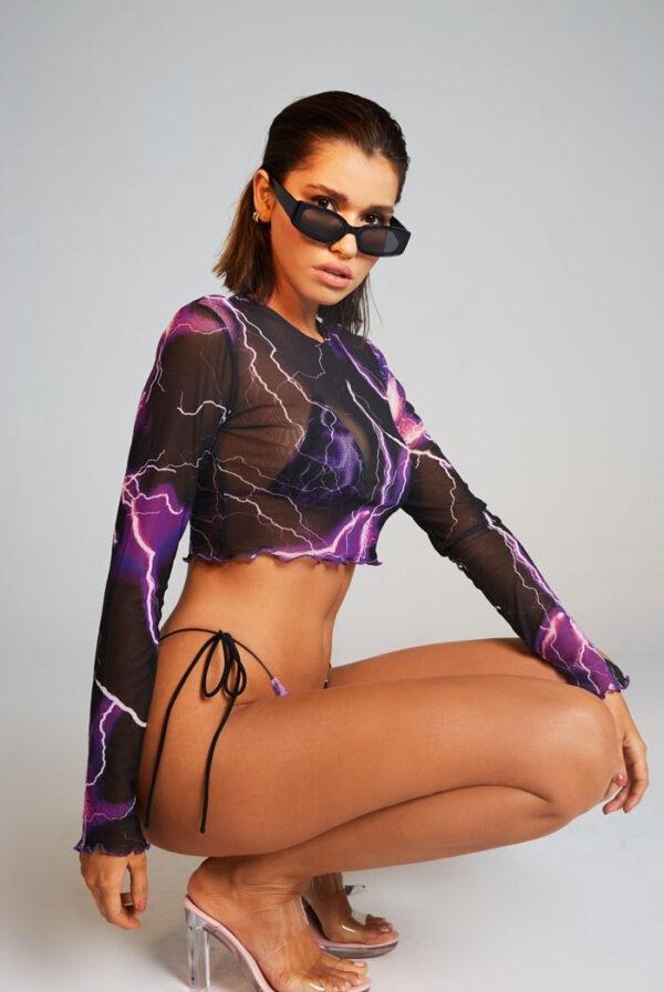 New Sexy Printed Swimsuit 3pieces Mesh Bikini Set Triangle Micro Bikini String Halter Swimwear Women Low Waist Bathing Suit