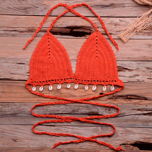Women's new bikinis Crochet set fashion sexy hollow out pure hand-woven chain shell bikini top Patchwork swimsuit