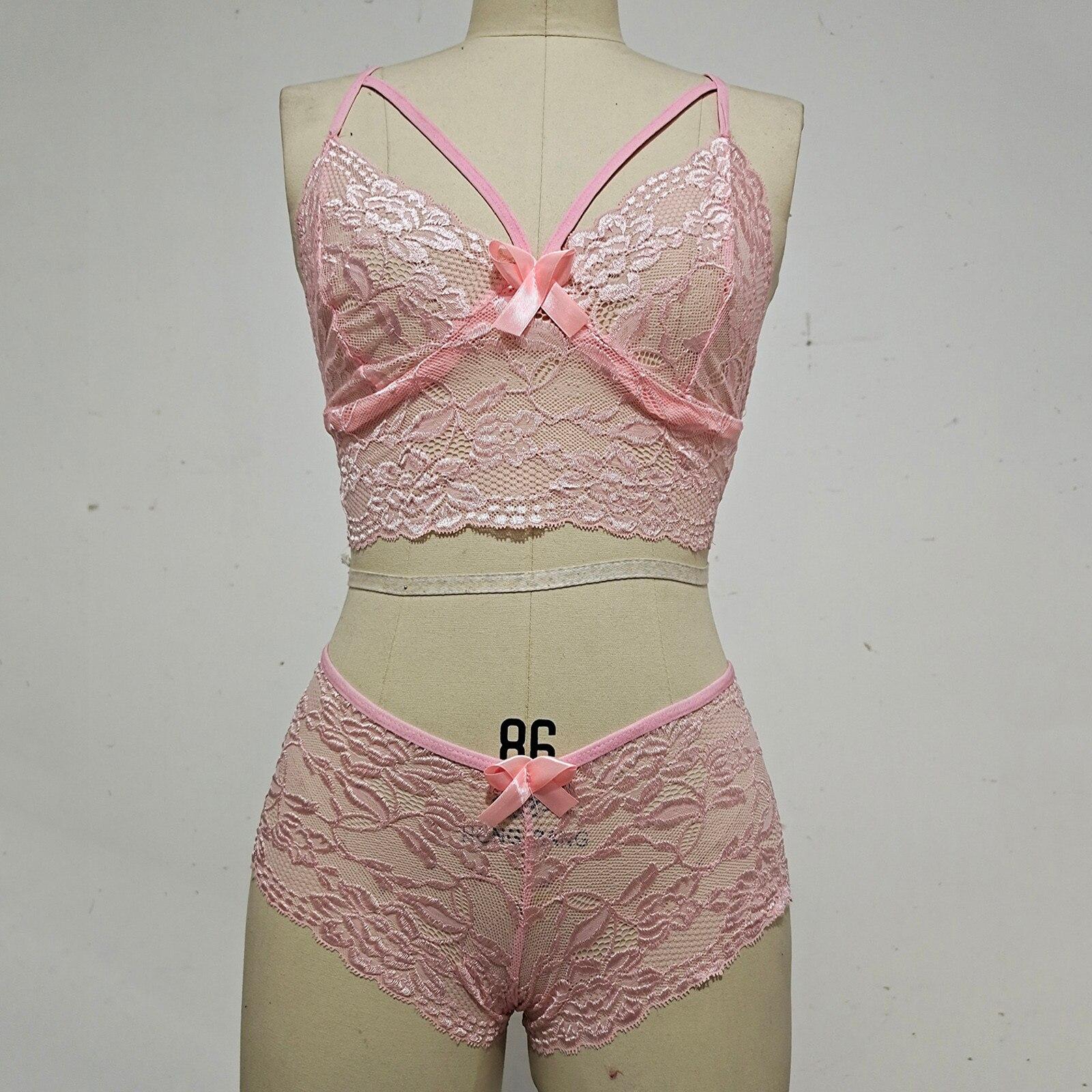 sexy bikini set Women Plus Size Lingerie Corset Lace Floral Bra Two Piece  Underwear beach swimwear