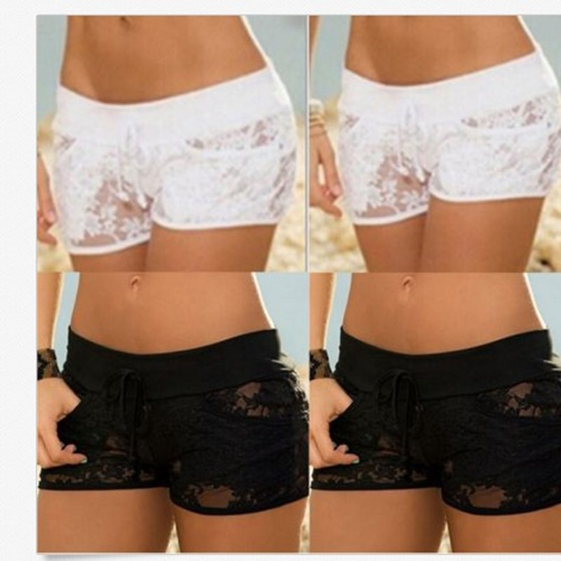 Summer Lace Solid Women Hollow Shorts