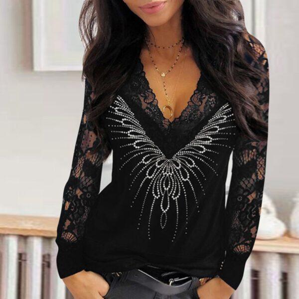 Elegant Lace Women Sequined Blouse