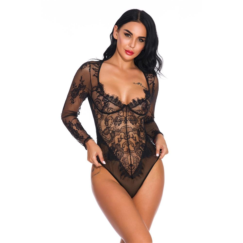 Sexy Transparent Mesh Women Bodysuit