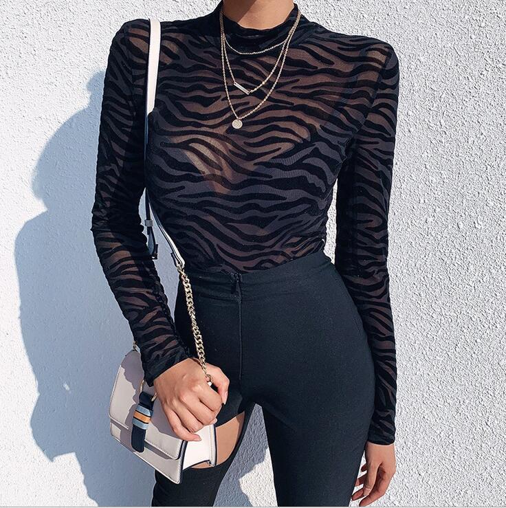 Long Sleeve Lace Women Transparent Bodysuit