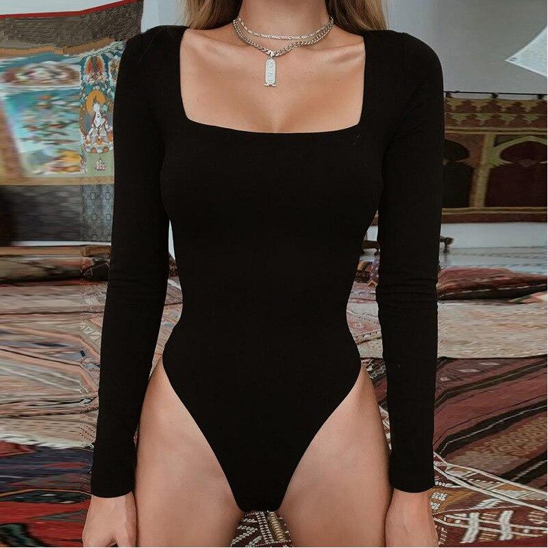 Long Sleeve Bodycon Women Wide Neck Bodysuit